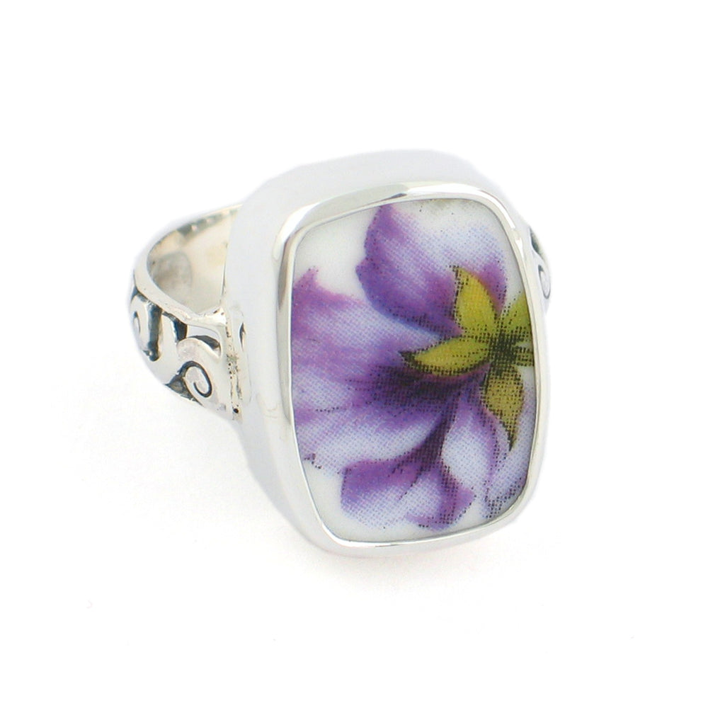 Broken China Jewelry Purple Pansy with Yellow Flower Sterling Rectangle Ring