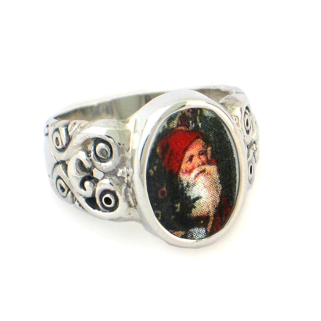 Broken China Jewelry Victorian Christmas Santa Sterling Oval Ring