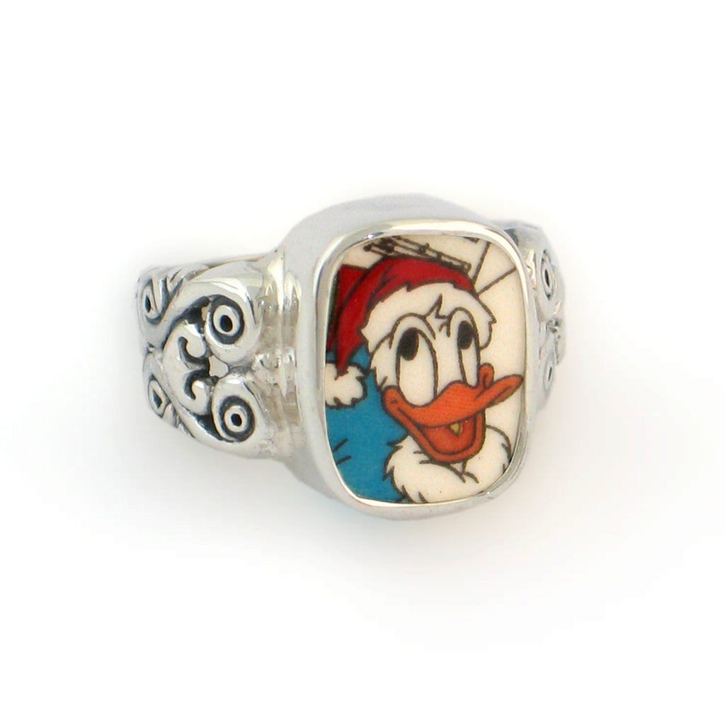 Broken China Jewelry Donald Duck Christmas Santa Hat Sterling Ring