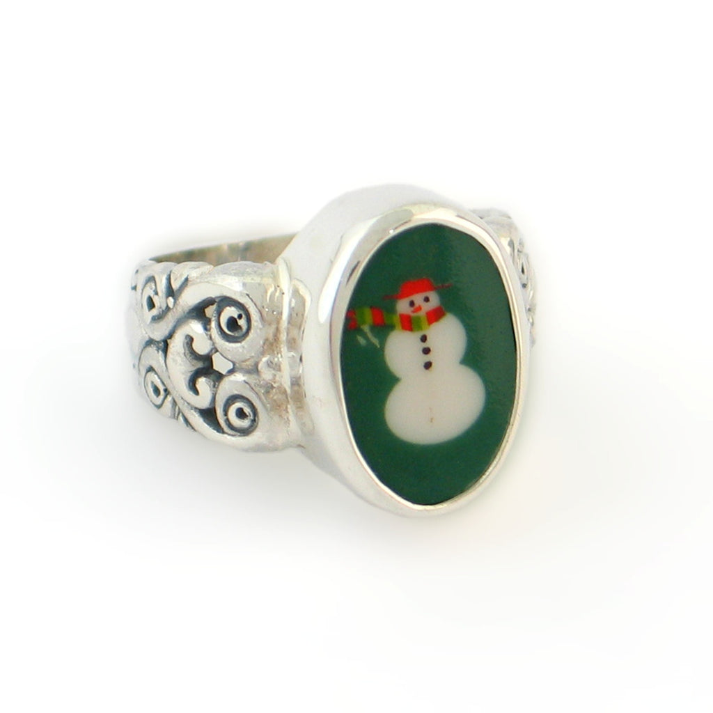 Broken China Jewelry Retro Green Snowman Snow Man Sterling Oval Ring