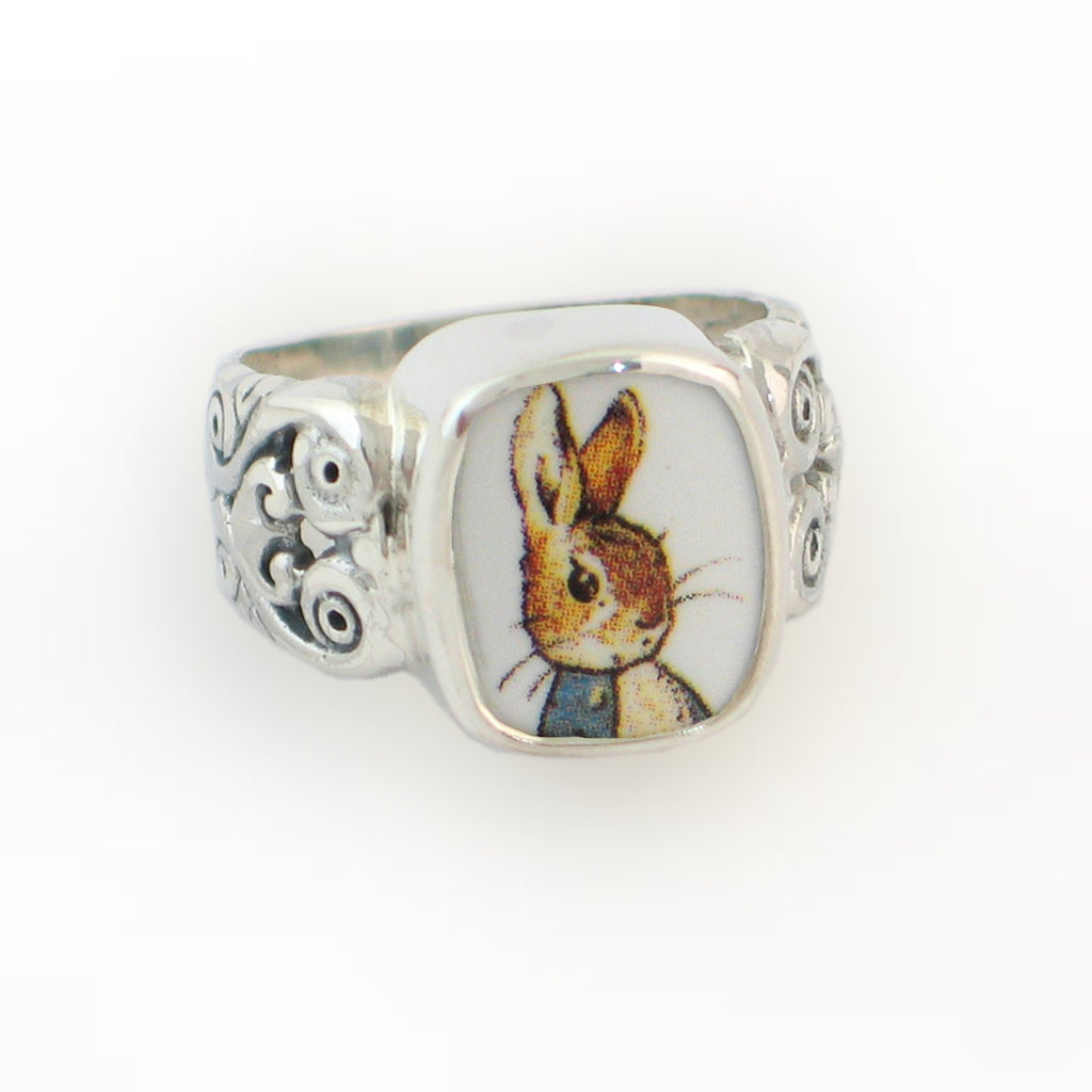 Broken China Jewelry Beatrix Potter Peter Rabbit Portrait in Jacket Sterling Ring