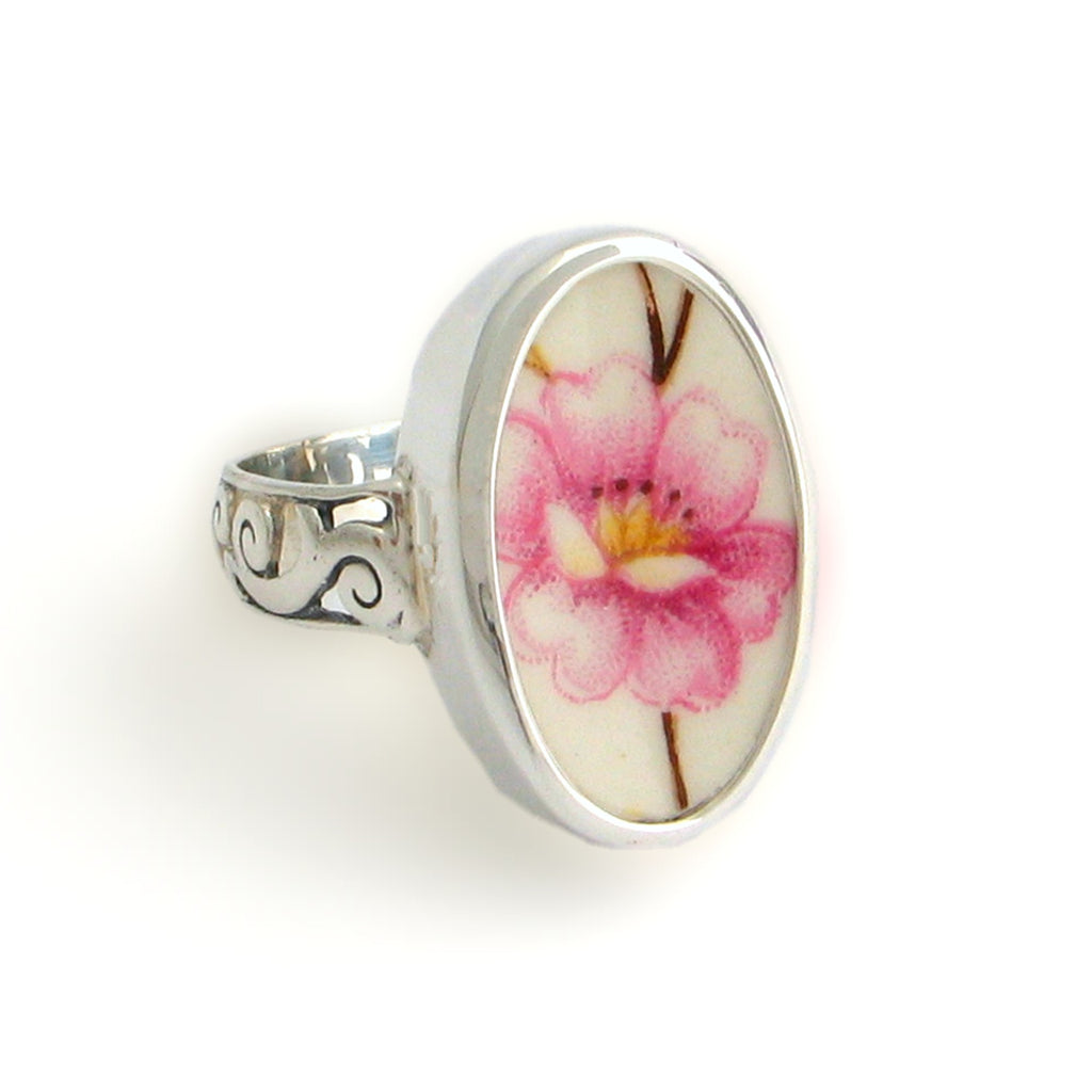 Broken China Jewelry Pink Peony Flower Oval Sterling Ring
