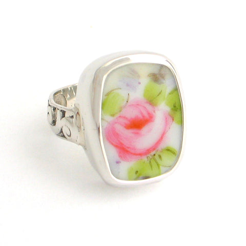 Broken China Jewelry Pink Cabbage Rose Bud Rectangle Sterling Ring