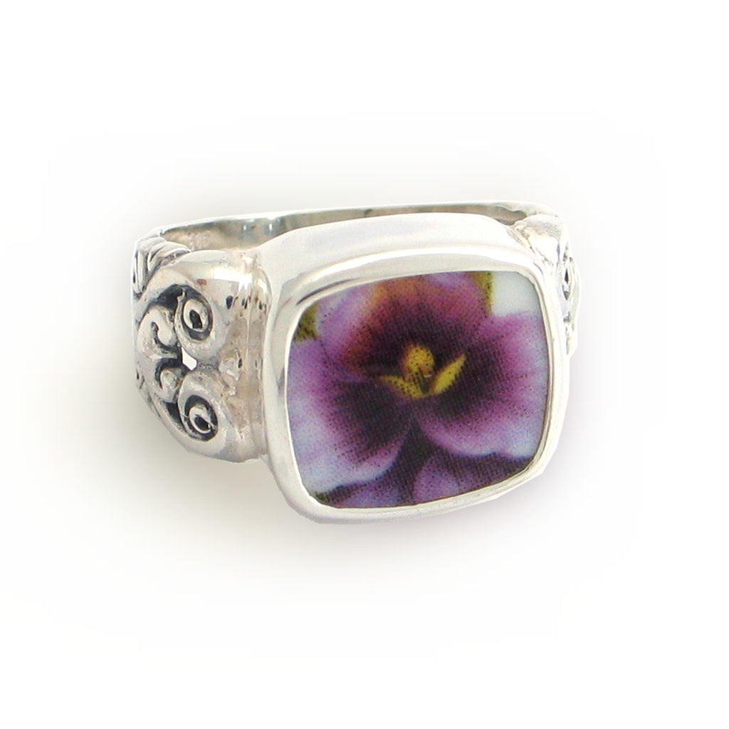 Broken China Jewelry Purple Pansy Close Up Sterling Ring