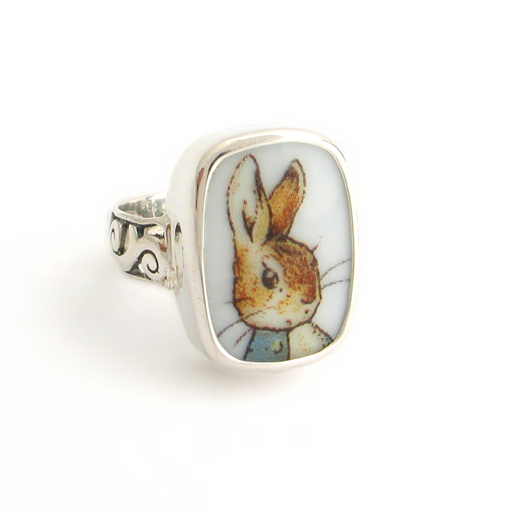 Size 8 - Broken China Jewelry Peter Rabbit Rectangle Sterling Ring