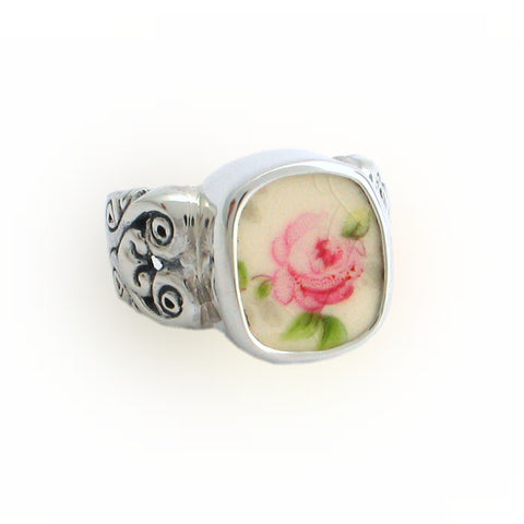 Broken China Jewelry Pink Vintage Cabbage Rose Rectangle Sterling Ring