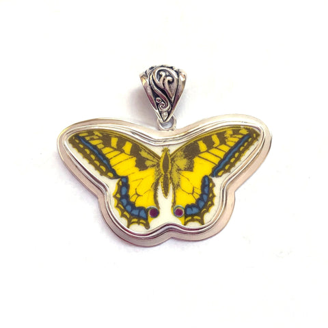 Broken China Jewelry Portmeirion Botanic Garden Free Form Butterfly Sterling Pendant