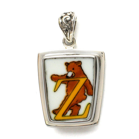 Broken China Jewelry Alphabet Bear Monogram Letter Z Sterling Pendant - Vintage Belle Broken China Jewelry