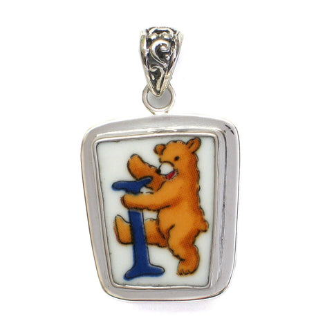 Broken China Jewelry Alphabet Bear Monogram Letter I Sterling Pendant - Vintage Belle Broken China Jewelry