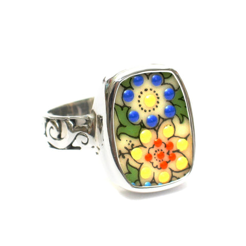 Broken China Jewelry Autumn Flowers Sterling Ring