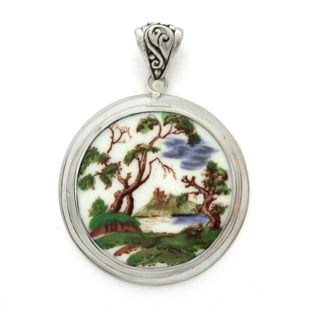 Broken China Jewelry Royal Doulton Michelham Tree by the River Sterling Circle Pendant