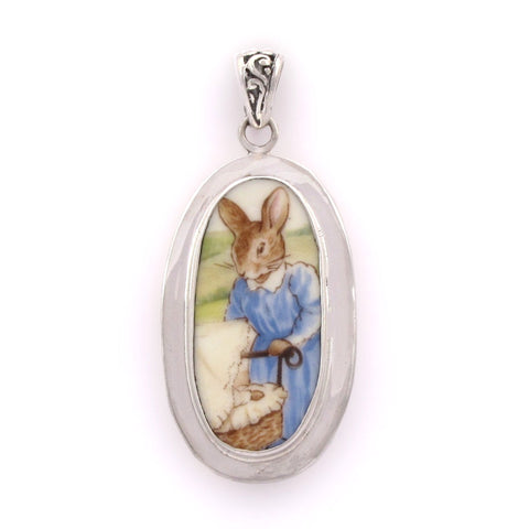 Broken China Jewelry Bunnykins Mother with Baby Sterling Silver Pendant