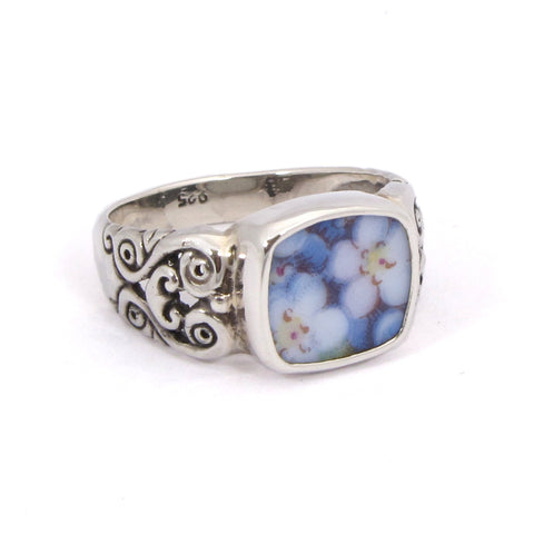 Size 11.5 Broken China Jewelry Blue Forget Me Not Flowers Sterling Carved Ring