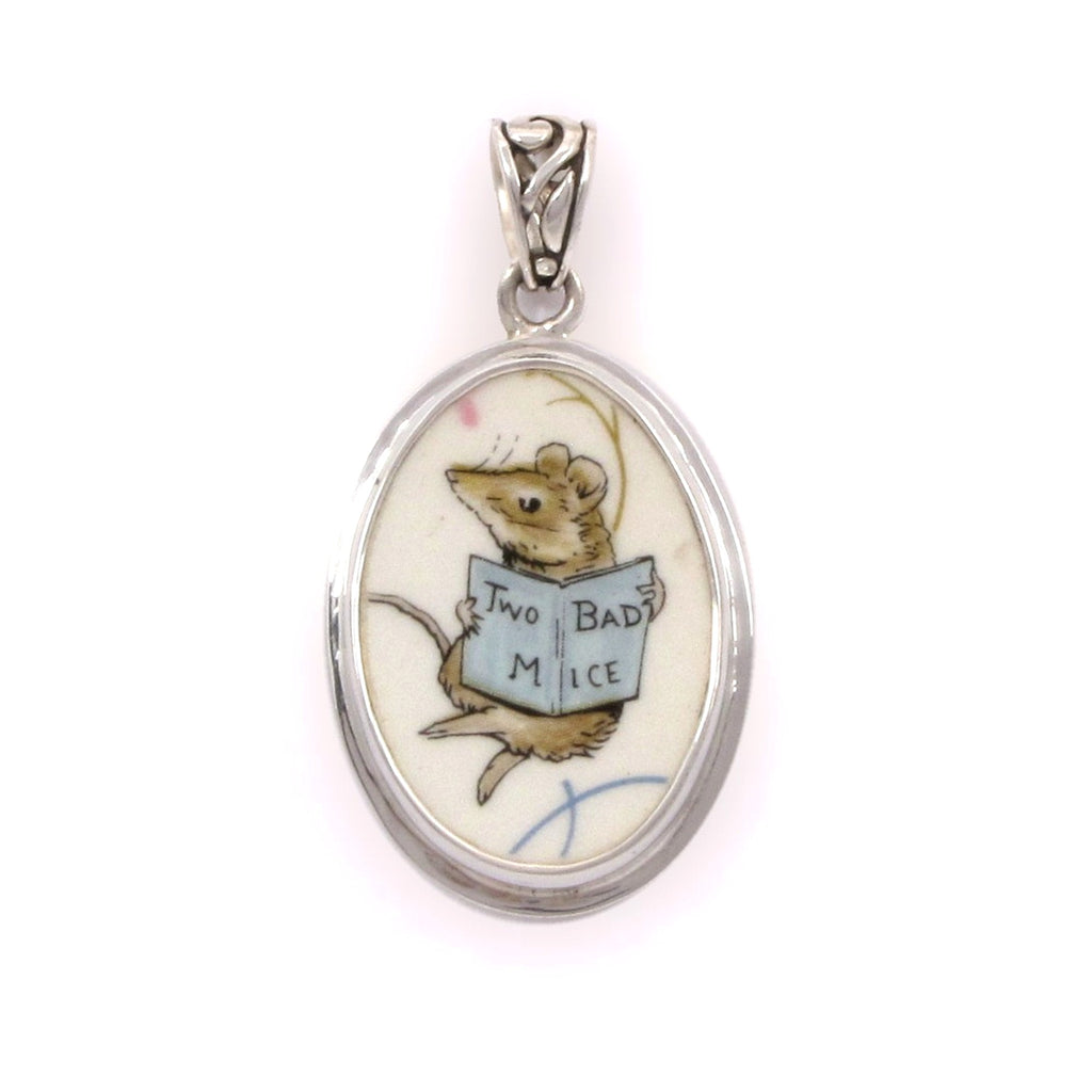 Broken China Jewelry Beatrix Potter Two Bad Mice Sterling Oval Pendant