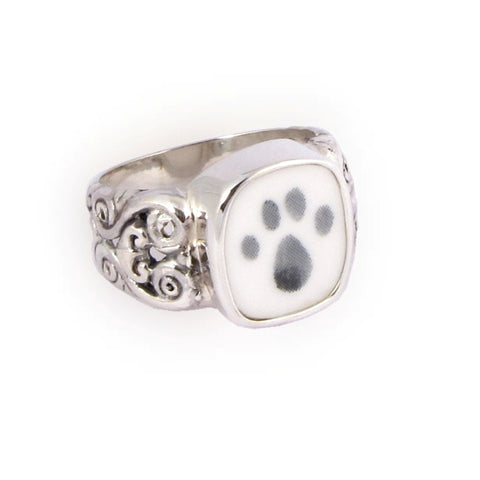 Broken China Jewelry Kitty Cat Paw Sterling Ring