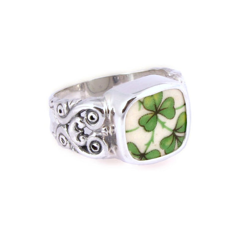 Broken China Jewelry Arklow Shamrock Clover Sterling Rectangle Ring