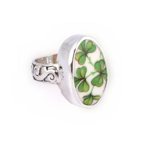 Broken China Jewelry Arklow Shamrock Clover Sterling Oval Ring