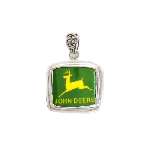 Broken China Jewelry John Deere Tractor Sterling Pendant
