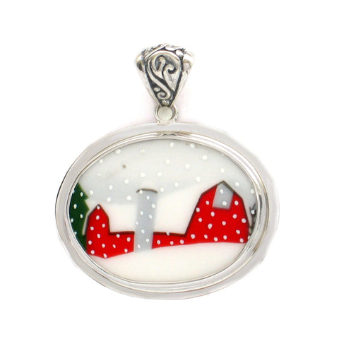 Broken China Jewelry Sleighride Christmas Tree with Red Barn Sterling Horizontal Oval Pendant