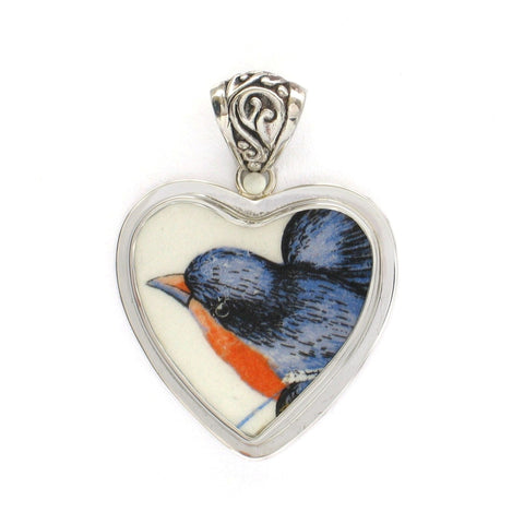 Broken China Jewelry American Robin Bird Sterling Heart Pendant