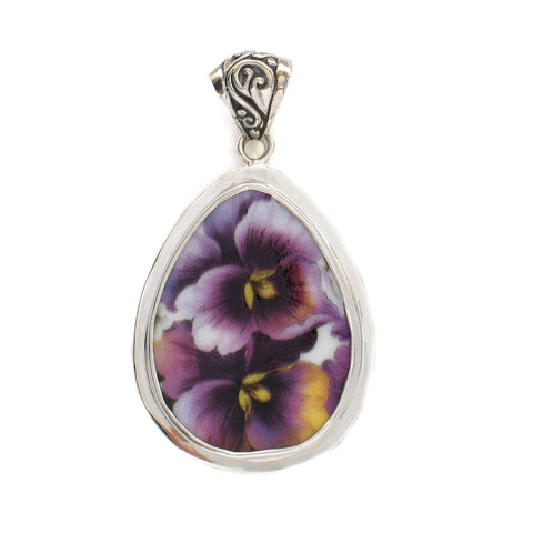 Broken China Jewelry Purple Pansy Flower Large Sterling Drop Pendant