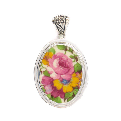 Broken China Grimwades Summertime Chintz Pink Rose Sterling Oval Pendant