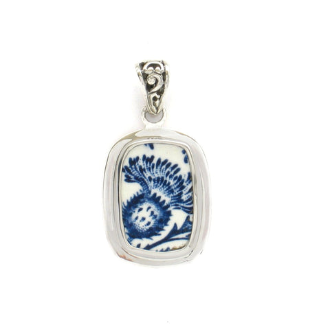 Broken China Jewelry Royal Warwick Lochs of Scotland Blue Thistle Flower Sterling Rectangle Pendant
