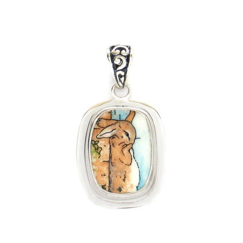 Broken China Jewelry Wedgwood Beatrix Potter Peter Rabbit Scratching Back Sterling Rectangle Pendant