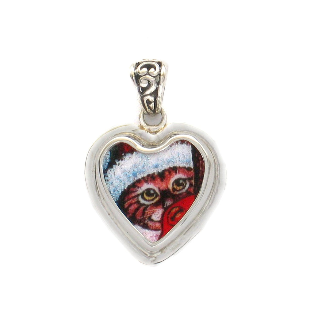 Broken China Jewelry Kitty Cat R Striped Kitty Cat Hiding with Santa Hat Sterling Heart Pendant