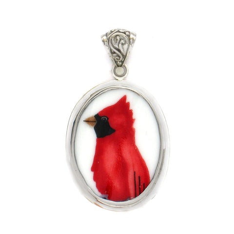 Broken China Jewelry Red Cardinal Facing Left Sterling Large Oval Pendant