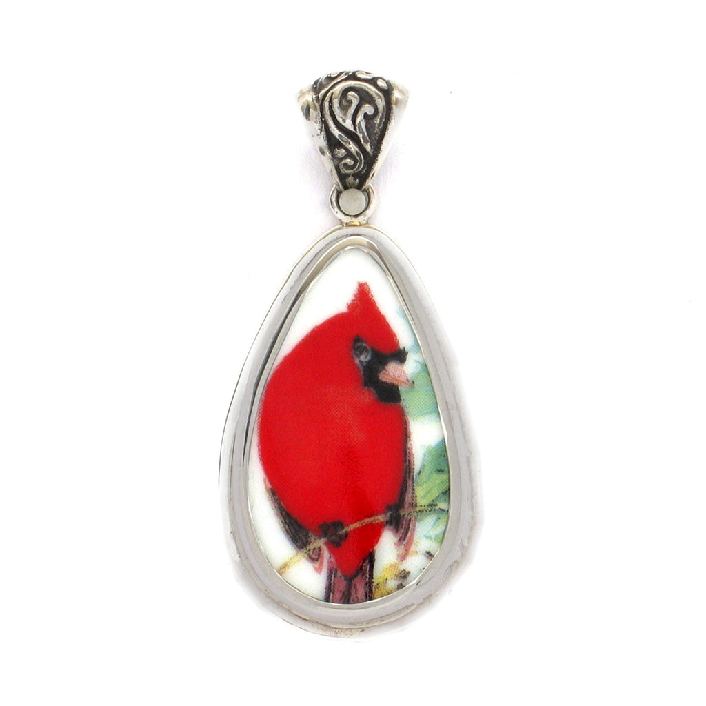 Broken China Jewelry Red Cardinal with Leaves Redbird Sterling Tall Drop Pendant
