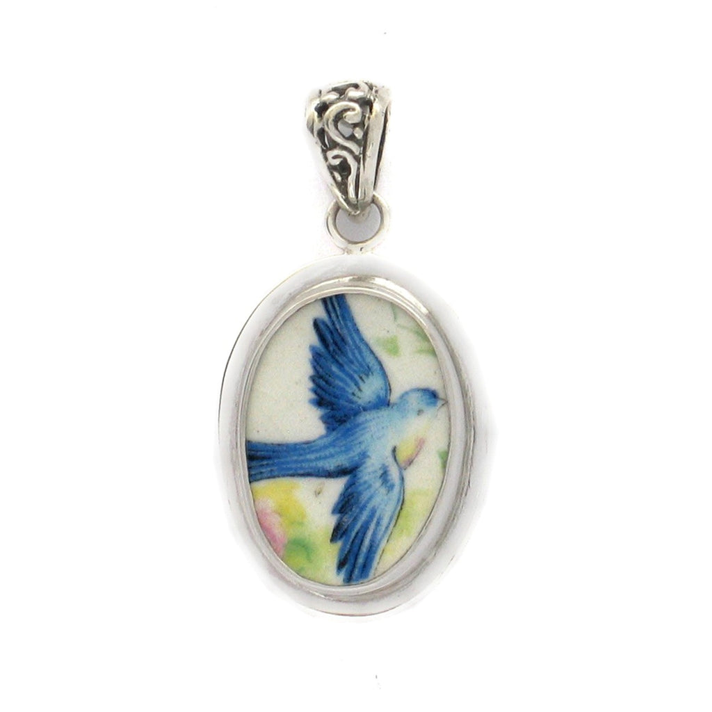 Broken China Jewelry Vintage Flying Blue Bird Bluebird Sterling Oval Pendant