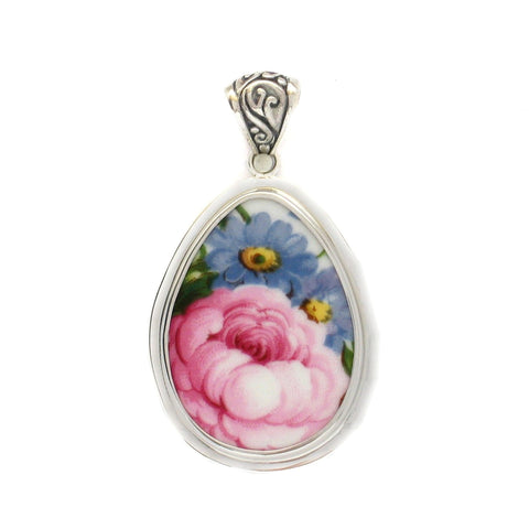 Broken China Jewelry Lady Carlyle Pink Rose with Blue Flowers Large Sterling Drop Pendant