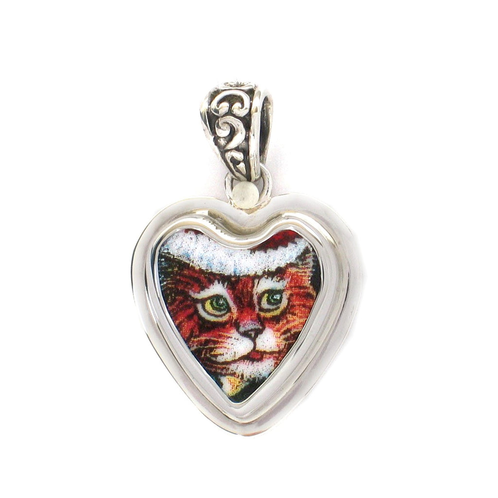 Broken China Jewelry Orange Kitty Cat Santa Hat F Sterling Heart Pendant