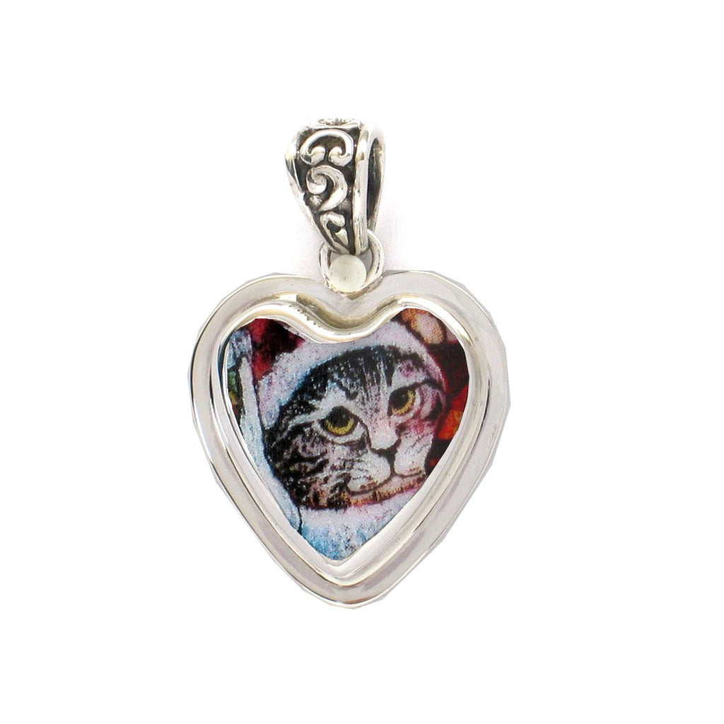 Broken China Jewelry Kitty Tabby Cat Sterling Heart Pendant