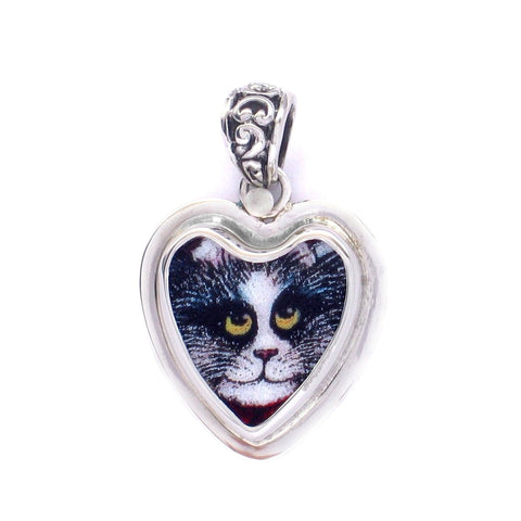 Broken China Jewelry Kitty Cat Black White Striped Kitten Sterling Heart Pendant