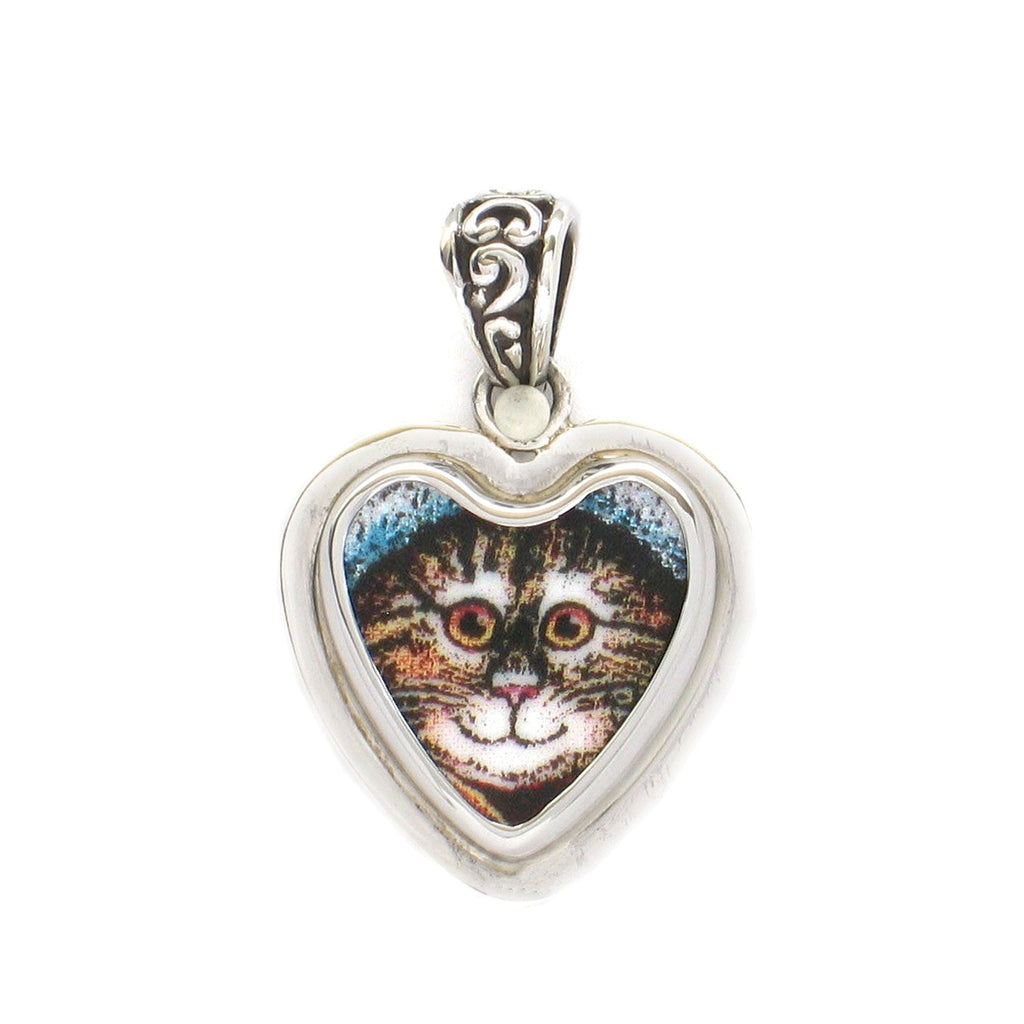 Broken China Jewelry Kitty Cat E Smiling Tabby Sterling Heart Pendant