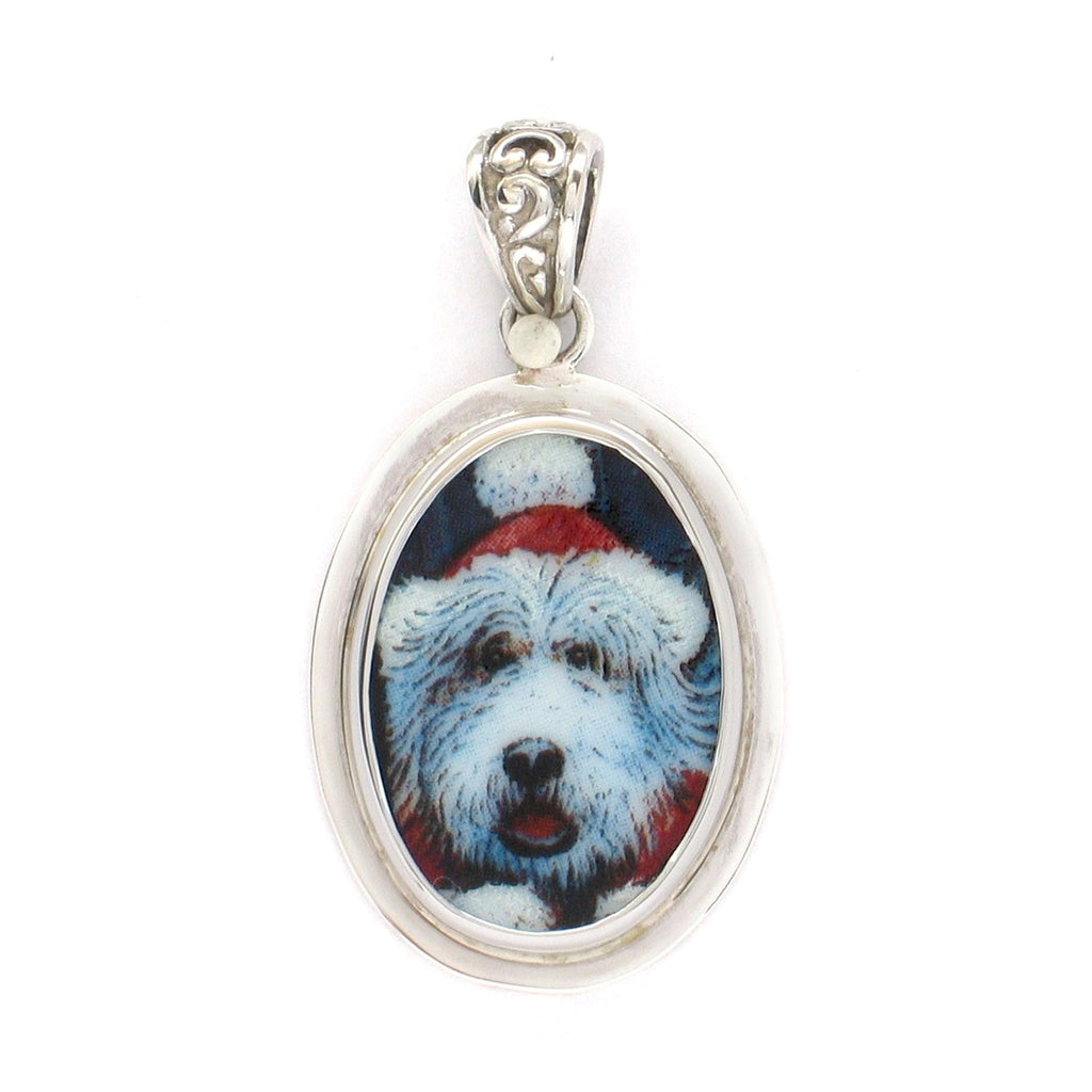 Broken China Jewelry Shaggy Dog with Christmas Hat Sterling Oval Pendant