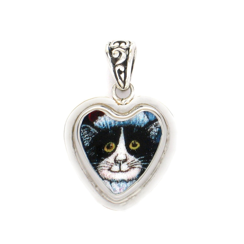 Broken China Jewelry Kitty Cat T Black & White Cat w Hat Sterling Heart Pendant