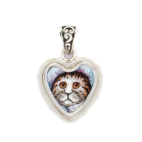 Broken China Jewelry Bill Bell Gray Kitty Cat Sterling Pendant