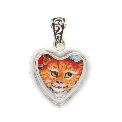 Broken China Jewelry Bill Bell Orange Kitty Cat Sterling Heart Pendant