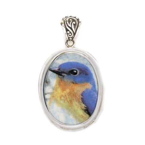 Broken China Jewelry Bluebird Blue Garden Bird Bird Facing Left Sterling Oval Pendant