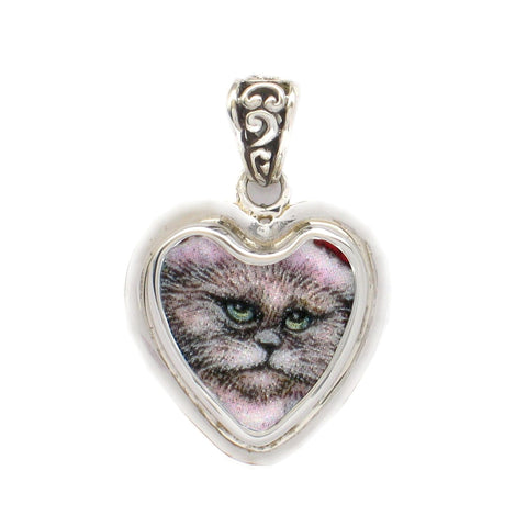 Broken China Jewelry Silver Grey Gray White Kitty Cat Sterling Heart Pendant
