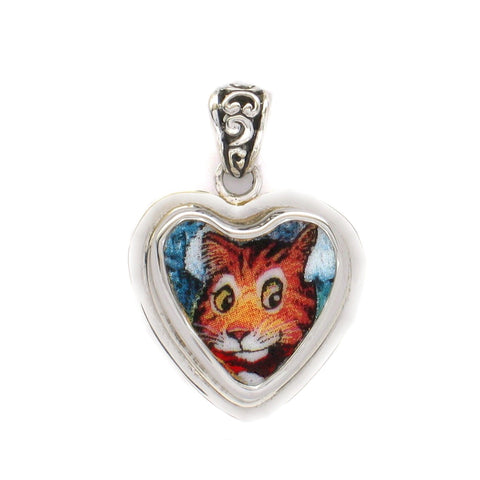 Broken China Jewelry Orange Kitty Cat with Stripes Sterling Heart Pendant