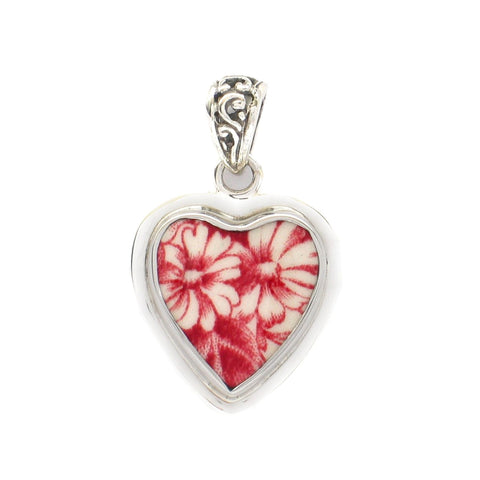 Broken China Jewelry Johnson Bros. Brothers Strawberry Fair Daisy Heart Sterling Pendant