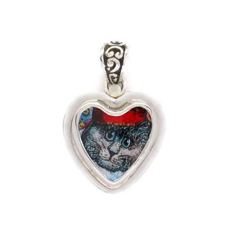 Broken China Jewelry Dark Grey Gray Kitty Cat with Hat Sterling Heart Pendant