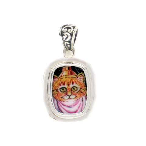 Broken China Jewelry Orange Kitty Cat in Pink Sterling Rectangle Pendant
