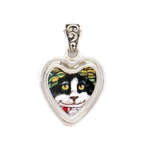 Broken China Jewelry Black White Kitty Cat G Sterling Heart Pendant