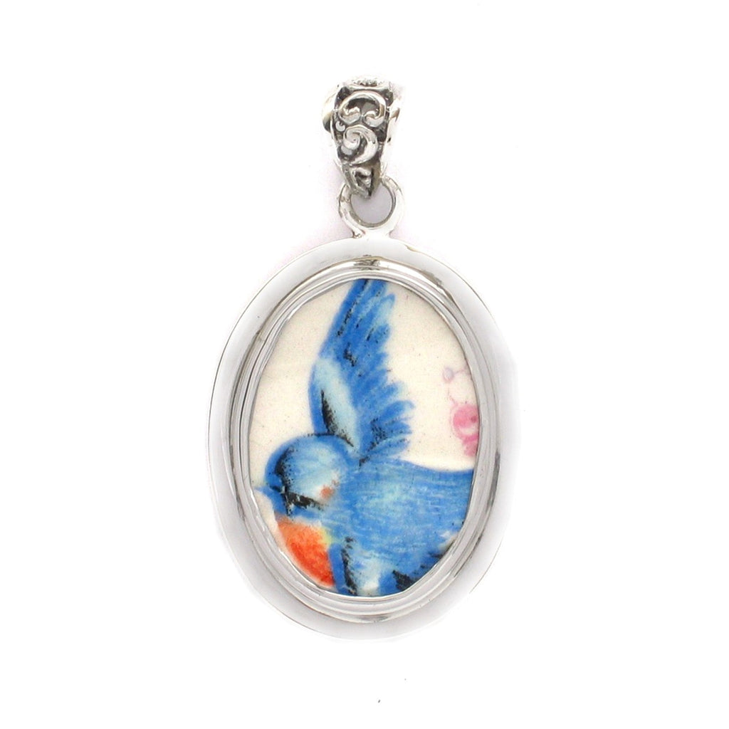 Broken China Jewelry Sweet Vintage Bluebird Left Facing Sterling Oval Pendant
