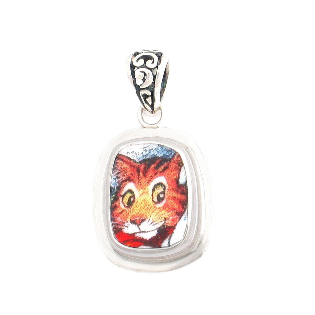 Broken China Jewelry Orange Kitty Cat with Stripes Sterling Rectangle Pendant